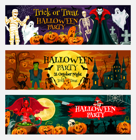 Halloween night party invitation banner of october pumpkin and ghost haunted house. Cemetery with full moon, bat and spider net, skeleton, zombie and vampire, mummy and devil for greeting card design