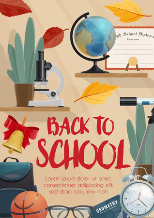 Back to School supplies and class items for education poster design. Backpack, globe and microscope, book, graduation diploma and clock banner, decorated with autumn fallen leaves