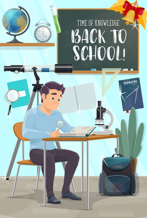 Back to School poster with student at class. Boy sitting at desk with book, globe and microscope, pencil, ruler and notebook, blackboard, backpack and clock banner for education and knowledge design