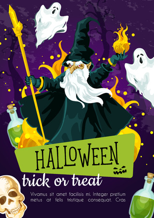 Halloween greeting poster with evil wizard. Fear magician with fireball and stick festive banner, adorned by spooky ghost, skeleton skull and potion bottle for trick or treat night celebration design