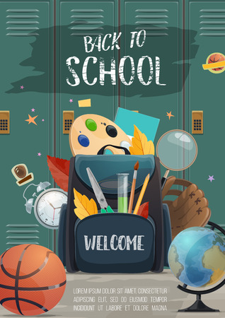 School lockers with backpack full of student supplies banner for Back to School concept. Pencil, book and pen, ruler, globe and paint, brush and office stationery for education poster design Illustration