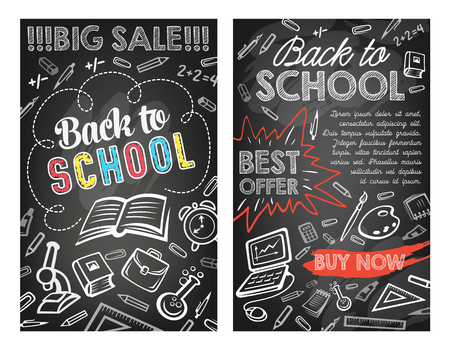 Back to School sale posters for education stationery shop discount offer on black chalkboard background. Vector school bag, geography globe or microscope and book or chalk on autumn maple leaf
