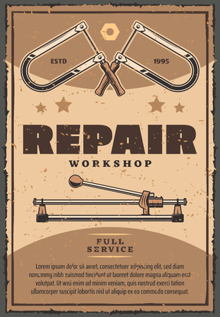Repair workshop vintage poster of work tools fretsaw or vise and bolt instruments. Vector retro design with stars for car garage or mechanic service and home repair or construction
