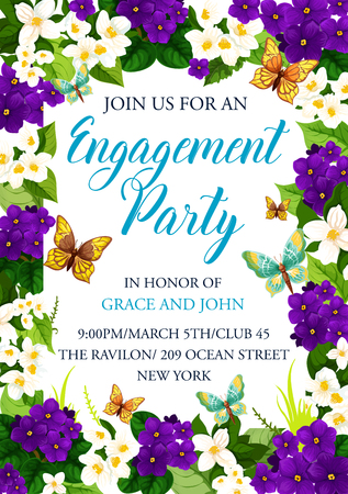 Engagement party invitation card for wedding or Save the Date design. Vector wedding flowers frame of crocuses and blooming blossoms with butterflies and bride or bridegroom names Иллюстрация