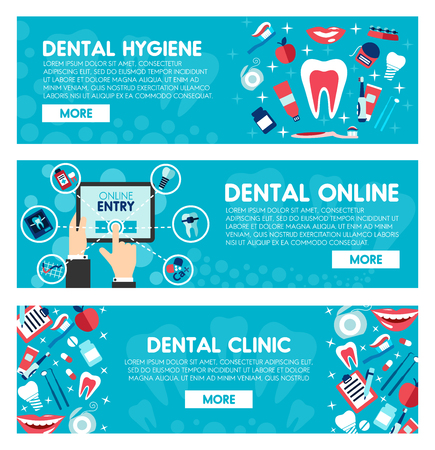 Online dental clinic web banners for dentistry medicine or dental healthcare. Vector design of dentistry treatments and orthodontic medical tools, tooth, toothpaste or toothbrush and implants