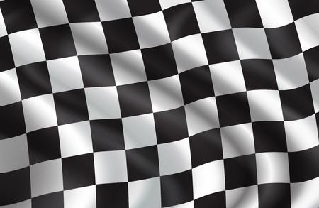 Kariertes Flaggenmuster des Autorennens. Vektor-3D-Hintergrund von weißen und schwarzen Quadraten auf wehender Flagge für Rallyesportverein oder Radrennenwettbewerb im Start- und Endhintergrunddesign Vektorgrafik