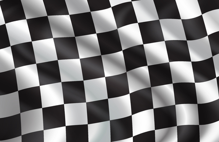 Checkered flag pattern of car racing. Vector 3D background of white and black squares on waving flag for rally sport club or bike races competition in start and finish backdrop design