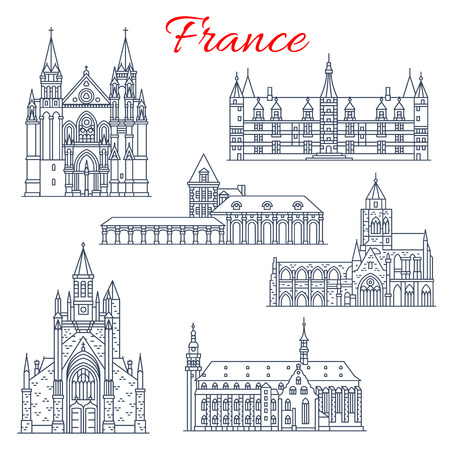 France Nievre, Guerande vector architecture icons Illustration