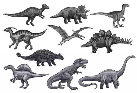 Jeu d'icônes de dinosaures de croquis de vecteur