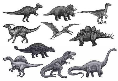 Set di icone di dinosauri schizzo vettoriale