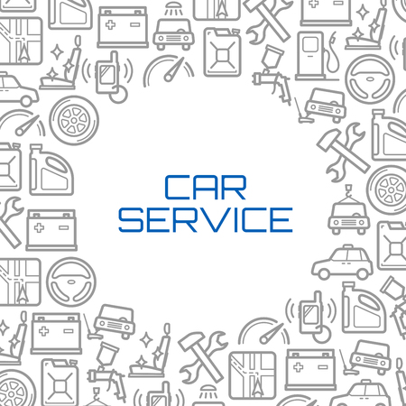 Vector line icons poster of car service tools