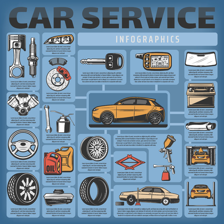 Car service infographics for spare parts and mechanic station. Vector motor oil, brake and speedometer diagnostics, wheel tires change or balance and automobile accumulator charge or car wash