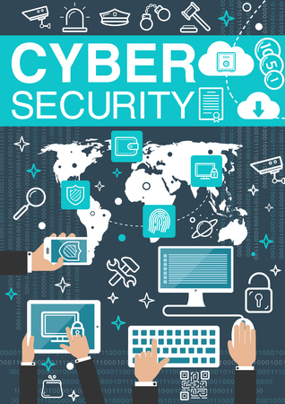 Cyber security internet vector poster Illustration