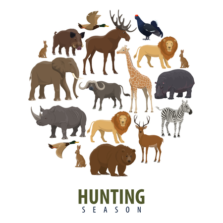 Hunting open season poster of wild animals. Vector design of elephant, zebra or wild bear and forest duck, aper hog with hippopotamus, lion or buffalo and hare with grouse for African Safari hunt Stock Vector - 112378959