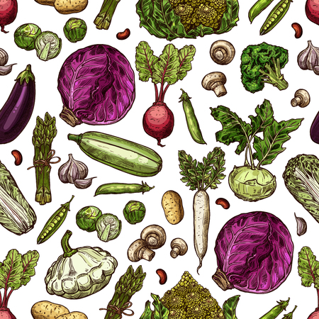 Vegetables sketch pattern background. vector seamless design of pumpkin, avocado and pepper, salad lettuce and cauliflower or mushroom, farm onion and corn or artichoke with radish or broccoli cabbage Banco de Imagens - 112378961