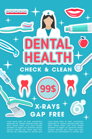 Dental health check and clean poster of dentistry medicine or orthodontic clinic. Vector design of dentist nurse or doctor with medicine for tooth whitening , toothpaste or toothbrush and implants Foto de archivo - 105542658