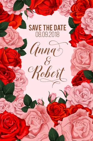 Save the Date greeting card or engagement party invitation of roses flowers. Vector wedding design of blooming pink and red floral blossoms frame with bride and bridegroom names