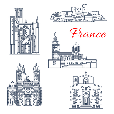 France architecture landmarks and famous Marseilles historic buildings thin line icons. Vector facades If Chateau castle fort, Notre Dame de Garde and Puy cathedral or Saint Sauveur  イラスト・ベクター素材
