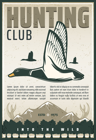Hunting club retro poster for hunter open season. Vector vintage design of wild duck bird, mountains and elk or deer antlers for hunt adventure or hunting hobby