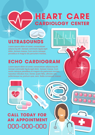 Medical poster for heart care and cardiology center. Vector design of cardiologist doctor with stethoscope, pill medicines and pharmaceutical treatments for cardiogram and ultrasound Ilustracja