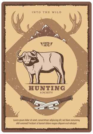 Hunting club retro poster for hunter society or open season. Vector vintage design of wild buffalo ox with mountains and elk or deer antlers with hunter knife for hunt adventure Illustration