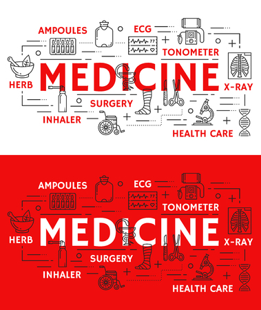 Medical poster of thin line art symbols and medicine icons of surgery and therapy health care. Vector design of cardiology ecg cardiogram, x-ray and tonometer or inhaler and pharmaceutical herbs Stock Vector - 112378974