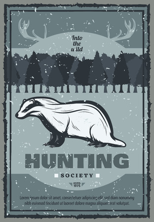 Hunting club retro poster for hunter society or open season. Vector vintage design of wild badger in mountains with elk or deer antlers with hunter knife for hunt adventure