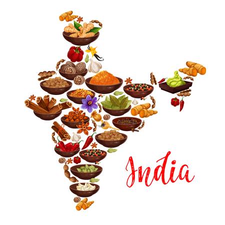 Spezie della cucina indiana nella mappa dell'India Disegno vettoriale di curry, zenzero e anice con condimenti masala di peperoncino e curcuma curcuma, zafferano o vaniglia e noce moscata