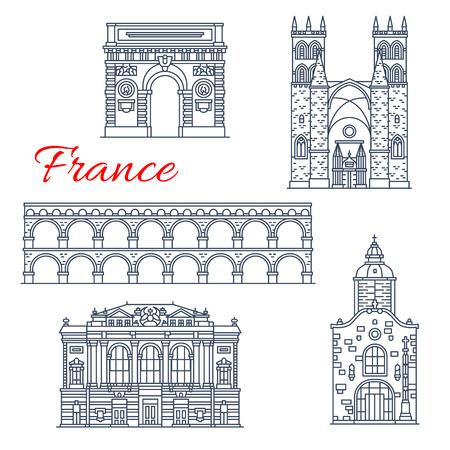Icônes d'architecture de vecteur de Montpellier en France