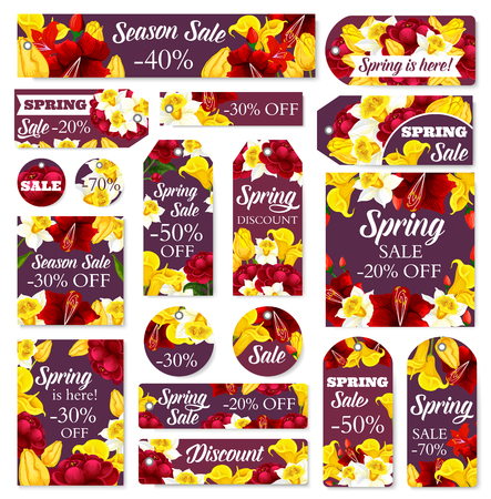 Spring sale posters and banners of flowers for seasonal shopping discount or promo offer. Vector store tags and cards design of blooming daffodil narcissus, callas and hibiscus bouquets