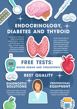Endocrinology, diabetes and thyroid medical poster for healthcare center or free tests diagnostics. Vector design of doctor with pills or tonometer and glucose meter, organs heart and brain