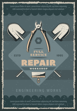Engineering and repair works vintage poster of repairman tools and instruments. Vector retro design with spades, home renovation and stucco spatula and electricity repair nippers with bolts or nuts