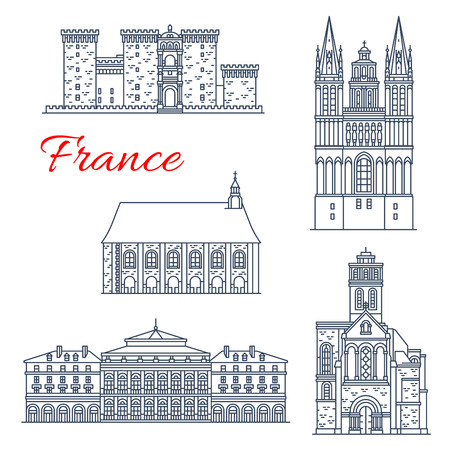 France architecture vector landmarks of Angers Stock Illustratie