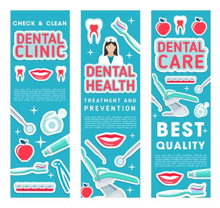 Dental health clinic banners for dentistry medicine of dentist items. Vector design of dental treatments and orthodontic medical tools, apple and tooth, toothpaste or toothbrush and implants Illusztráció