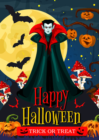 Happy Halloween trick or treat night celebration greeting banner. Spooky vampire, pumpkin lantern and bat, full moon night sky and creepy cemetery tree for october holiday party invitation design