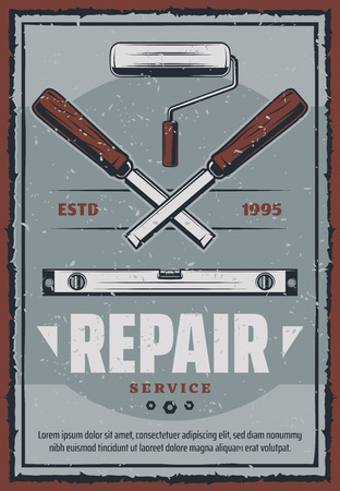 Repair service poster of construction and home renovation or woodwork tools. Vector retro design of chisel, paint or stucco roll and ruler with bolts and nuts for handiwork workshop