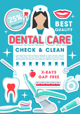 Dental clinic discount promotion poster of tooth care, oral hygiene and caries treatment special offer. Dentistry medicine banner with dentist tool, tooth and braces, floss, toothbrush and toothpaste 스톡 콘텐츠 - 105778902