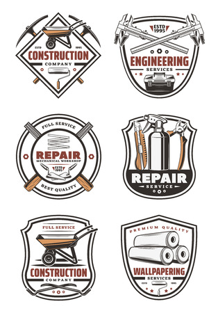 Construction company vintage symbol for house repair, engineering and wallpapering service design. Work tool retro shield badge with trowel, wheelbarrow and pliers, tape measure, roller and wallpaper Illustration
