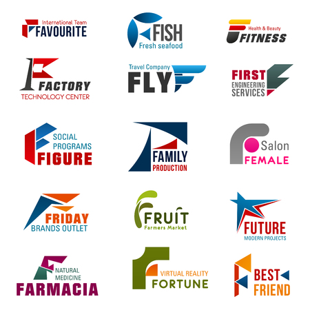 Business icons with letter F for food, sport and medicine, travel, fashion and digital technology company template. Modern font of alphabet letter F for corporate identity and branding design Illustration