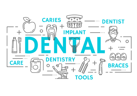 Dental clinic banner with tooth health, oral hygiene and dentistry medicine thin line icon. Dentist doctor tool, tooth, implant and braces, toothbrush, toothpaste and caries cavity poster design Illustration