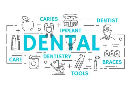 Zahnklinik Banner mit Zahngesundheit, Mundhygiene und Zahnmedizin dünne Linie Symbol. Zahnarztwerkzeug, Zahn, Implantat und Klammern, Zahnbürste, Zahnpasta und Karieshöhlenplakatdesign Vektorgrafik