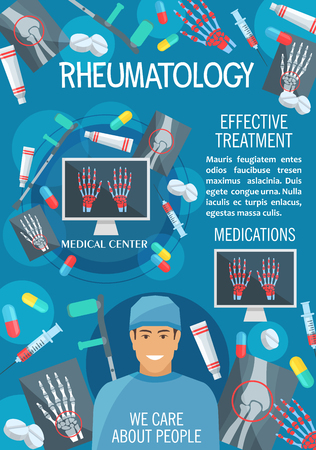 Rheumatology medical clinic banner of diagnostics and treatment of rheumatism disease. Bone and joint x-ray of hand, knee and leg, rheumatologist doctor, pill and crutches poster for hospital design