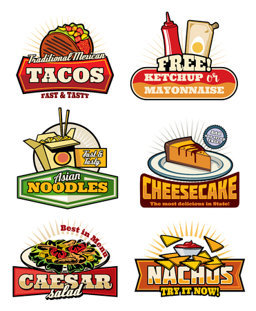 Fast food restaurant vintage symbols with snack and desserts. Mexican taco and nacho with sauce, chinese noodle with chopsticks, american cheesecake and caesar salad retro icons for cafe menu design Stock Vector - 112276040