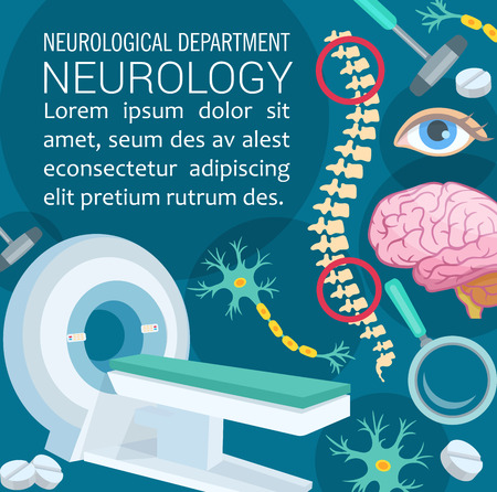 Neurology diagnostic clinic poster with medical icon. Brain, spinal cord and neuron cell, MRI machine, neurologist tool and equipment symbol for nervous system disease treatment banner design