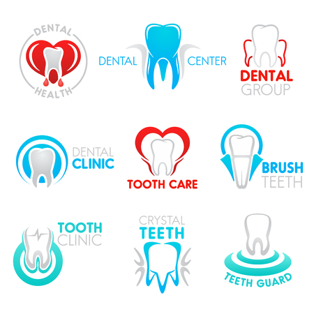 Dental clinic and tooth health center icon set. White teeth in frame of heart with heartbeat pulse isolated symbol for dentistry, health care and dentist office design Ilustracja