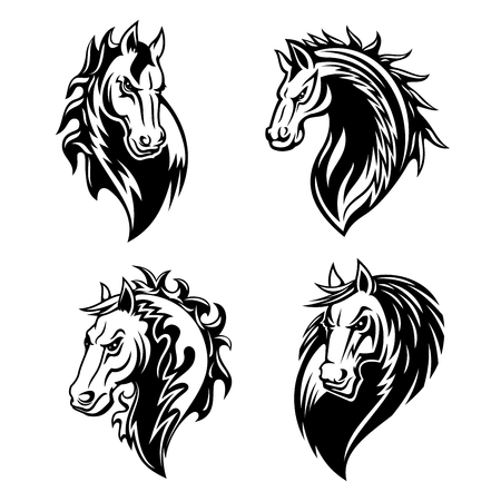 Horse or mustang animal isolated icons for tribal tattoo and equestrian sport mascot design. Black and white stallion or mare horse head with angry muzzle and curly mane symbols Vettoriali