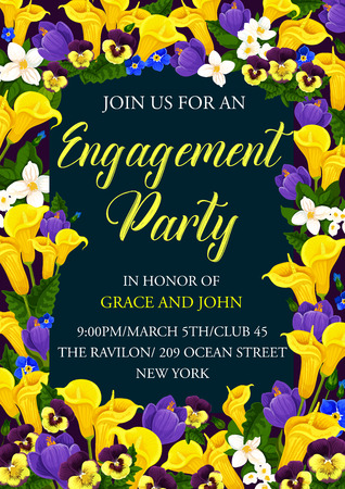 Engagement party floral banner of wedding ceremony invitation template. Festive flower bouquet of spring crocus, calla lily, pansy and jasmine frame border for invite card and greeting postcard design