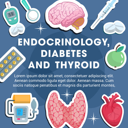 Endocrinology medicine poster with frame of medical icon. Thyroid gland, brain and heart, pill, insulin, blood glucose and pressure test banner for diagnostic clinic of endocrine system disease