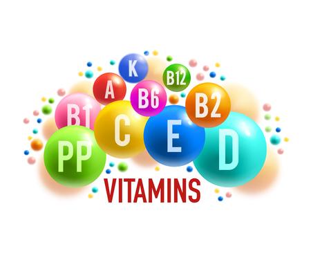 Bannière complexe de vitamines et de minéraux de complément alimentaire sain. Boule colorée et pilule d'affiche médicale multivitaminée pour la conception de thèmes de soins de santé et de pharmacie
