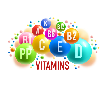 Vitamin and mineral complex banner of healthy food supplement. Colorful ball and pill of multivitamin medical poster for health care and pharmacy themes design